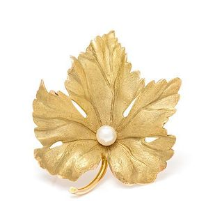 A 14 Karat Yellow Gold and Cultured Pearl Leaf Brooch, Tiffany & Co., 4.90 dwts.