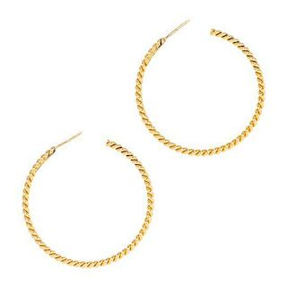 * A Pair of 18 Karat Yellow Gold 'Twisted' Hoop Earrings, Tiffany & Co., 6.60 dwts.