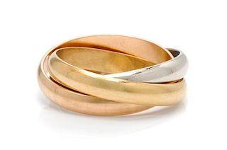 An 18 Karat Tricolor Gold 'Trinity' Ring, les Must de Cartier, 5.60 dwts.
