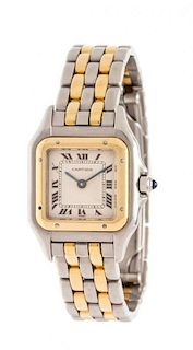 * A Stainless Steel and Yellow Gold 'Panthere' Wristwatch, Cartier, 27.60 dwts.