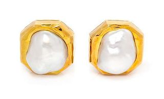 * A Pair of 18 Karat Yellow Gold and Cultured Pearl Earrings, Dunay, 15.10 dwts.
