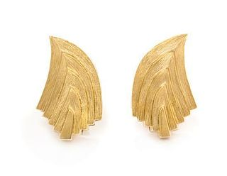 A Pair of 18 Karat Yellow Gold Earclips, Henry Dunay for H.D.D. Inc., 16.40 dwts.