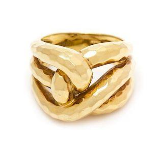 * An 18 Karat Yellow Gold Knot Motif Ring, Dunay, 7.10 dwts.