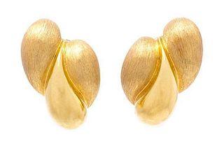 * A Pair of 18 Karat Yellow Gold Earclips, Dunay, 14.90 dwts.