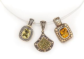 * A Collection of Sterling Silver, Yellow Gold and Gemstone Pendants, John Hardy and David Yurman, 22.40 dwts.