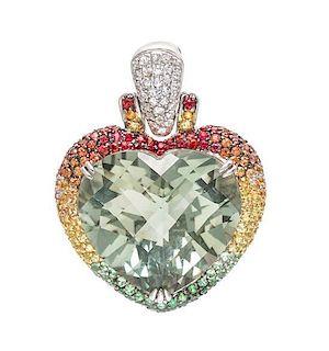 An 18 Karat White Gold, Green Quartz, and Multigem Heart Pendant, S.J. Lau, 11.40 dwts.