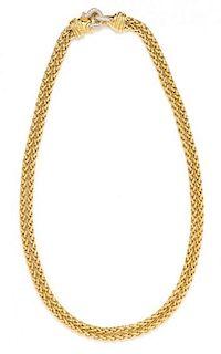 * An 18 Karat Yellow Gold and Diamond 'Double Wheat' Necklace, David Yurman, 56.00 dwts.