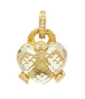 * An 18 Karat Yellow Gold, Prasiolite and Diamond Enhancer/Pendant, Judith Ripka, 11.25 dwts.