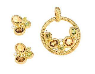* An 18 Karat Yellow Gold and Multigem 'Mosaic' Demi-Parure, David Yurman, 15.90 dwts.