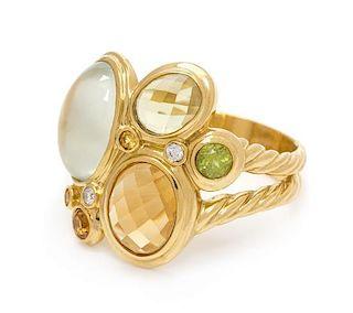 * An 18 Karat Yellow Gold and Multigem 'Mosaic' Ring, David Yurman, 9.95 dwts.