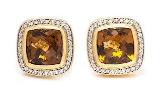 * A Pair of 18 Karat Yellow Gold, Citrine and Diamond 'Albion' Earrings, David Yurman, 14.20 dwts.