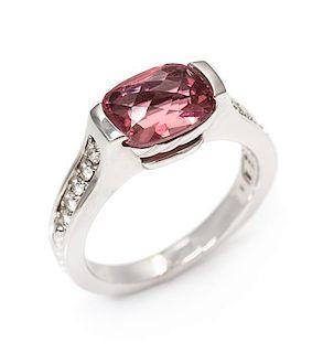 * An 18 Karat White Gold, Pink Tourmaline and Diamond Ring, David Yurman, 5.20 dwts.