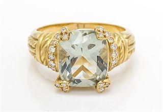 * An 18 Karat Yellow Gold, Prasiolite and Diamond Ring, Judith Ripka, 9.05 dwts.