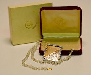 Erte Sterling & 14K Diamond Necklace/Pin