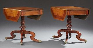 Pair of English Style Inlaid Walnut Drop Leaf Tables, 19th c., the canted corner rectangular top over an end drawer, on a lea