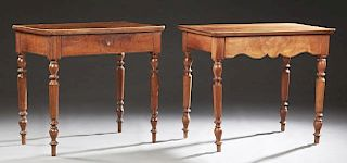 French Provincial Louis Philippe Carved Walnut Writing Table, 19th c., the rounded corner top over a frieze drawer, on turned