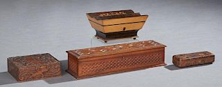 Group of Four Boxes, 19th c., consisting of a gilt decorated leather box from M. Scooler, New Orleans; a carved poke wood box