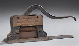 "Cast Iron New Orleans Tobacco Cutter, 19th c., marked ""Crescent Cigar & Tobacco Co., New Orleans, LA,"" H.- 7 1/4 in., W.- 16"