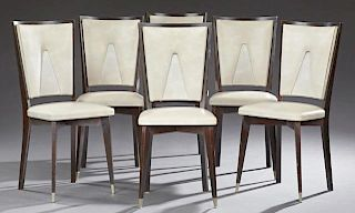 Six Art Deco Style Ebonized Mahogany Dining Chairs, 20th c., the trapezoidal back above a square seat, on tapered square legs