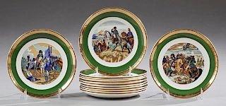 Set of Twelve French Porcelain Plates, 20th c., by Gien, with gilt borders around green banding and central reserves of