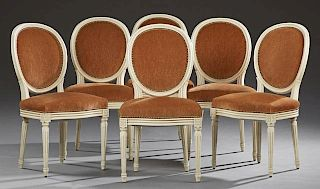 Set of Six Louis XVI Style Polychromed Beech Dining Chairs, 20th c., the medallion backs over bowed seats on fluted tapered l