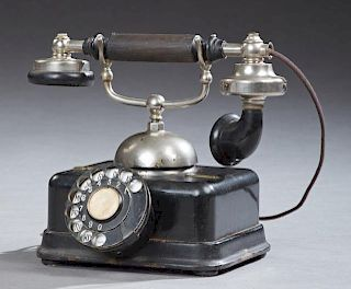 L. M. Ericsson Dial Telephone, early 20th c., now wired for use in America and in working order, H.- 9 in., W.- 9 7/8 in., D.