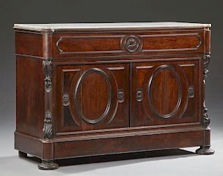 French Carved Mahogany Marble Top Commode, c. 1870, the cookie corner white marble over a frieze drawer above double cupboard