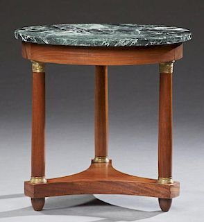French Empire Style Ormolu Mounted Carved Mahogany Marble Top Lamp Table, 20th c., the circular verde antico marble over a wi