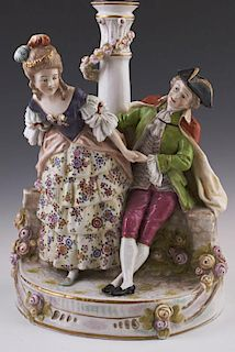 German Dresden Style Porcelain Figural Lamp, c. 1900, Sitzendorf, of a courting couple seated on a flower strewn wall, H.- 14