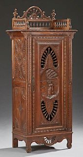 Diminutive French Provincial Carved Oak Cupboard, early 20th c