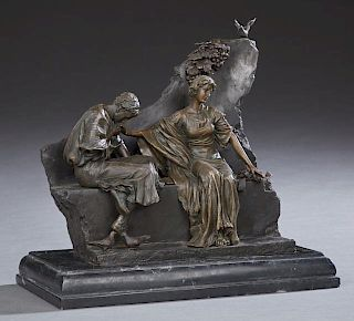 "Milo (Miguel Fernando Lopez, 1955- ), ""Kissing Her Hand,"" 20th c., patinated bronze figural group, signed proper left base, o"