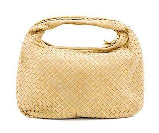 "A Bottega Gold Shimmer Intrecciato Medium Hobo Bag, 16"" x 10"" x 1""; Strap Drop: 6""."