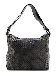 """A Bottega Veneta Black Intrecciato Shoulder Bag, 14"""" x 10"""" x 7""""; Strap Drop: 7""""."""