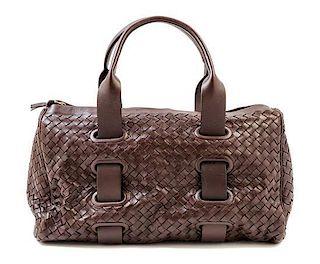 "A Bottega Veneta Chocolate Intrecciato Small Duffle Bag, 14"" x 9"" x 7""; Handle Drop: 6""."