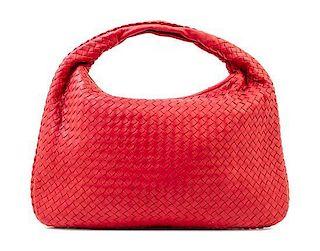 """A Bottega Veneta Red Intrecciato Large Hobo Bag, 18"""" x 12"""" x 1.5""""; Strap drop: 6""""."""