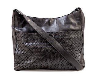 """A Bottega Veneta Black Shoulder Bag, 12"""" x 10.5"""" x 3.5""""; Strap drop: 19""""."""