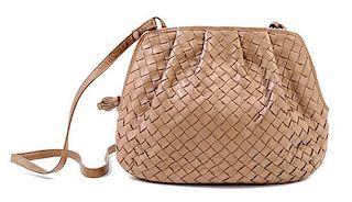 """A Bottega Veneta Intrecciato Taupe Shoulder Bag, 9.5"""" x 7"""" x 1""""; Strap drop: 19""""."""