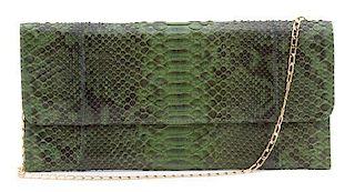 """A Carlos Falchi Green Exotic Skin Clutch, 12"""" x 6"""" x .5""""."""
