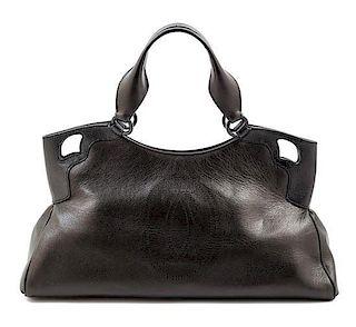 """A Cartier Black Leather Marcello Satchel, 17.5"""" x 9"""" x 5.5""""; Strap drop: 7""""."""