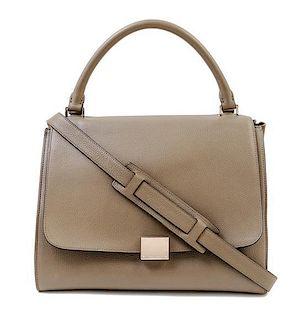 "A Celine Taupe Leather and Suede Medium Trapeze Handbag, 12"" x 10"" x 7""; Strap drop: 15""."