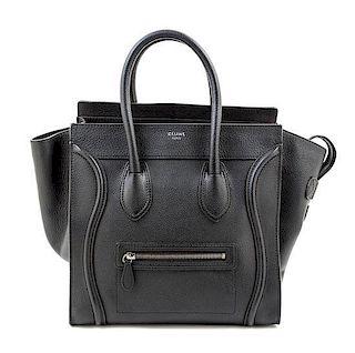 "A Celine Black Leather Mirco Luggage Tote, 12"" x 12"" x 7""; Handle drop: 5""."
