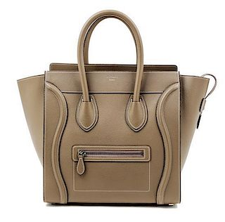 """A Celine Taupe Leather Micro Luggage Tote, 12"""" x 12"""" x 7""""; Handle drop: 5""""."""