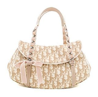 "A Christian Dior Monogram Romantique Trotter Bag, 12"" x 7"" x 4""; Handle drop: 6""."
