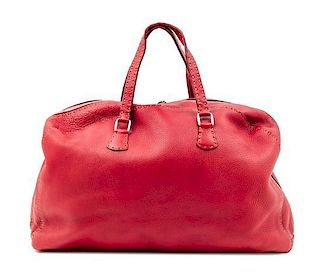 """A Fendi Red Leather Selleria Tote Bag, 18"""" x 12"""" x 4""""; Handle drop: 6""""."""