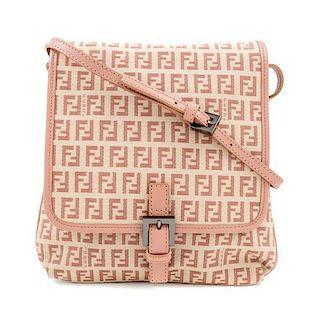 "A Fendi Peach and Beige Monogram Canvas Cross Body Bag, 9"" x 9"" x. 5""; Strap drop: 20""."