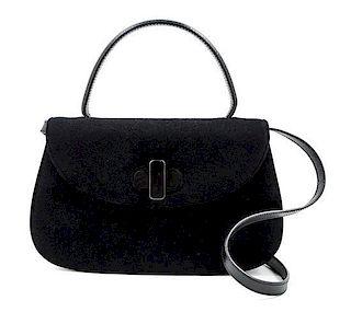 """A Gucci Black Suede Flap Handbag, 11"""" x 7"""" x 2.5""""; Handle drop: 4.5""""."""