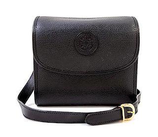 "A Gucci Black Leather Camera Bag, 7"" x 6"" x 4""; Strap drop: 23""."