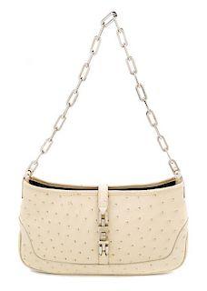 "A Gucci Beige Ostrich Handbag, 10"" x 5.5"" x 1.5""; Strap drop: 10."