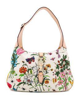 """A Gucci Floral Canvas Handbag, 12"""" x 8"""" x 1.5""""; Strap drop: 9""""."""
