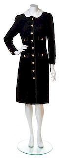 An Adolfo Black Wool Coat, No size.
